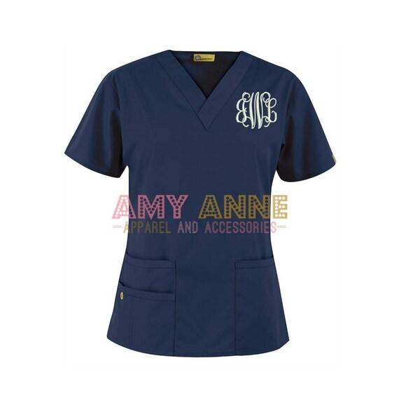 Monogrammed Nurse Scrub Top Nursing Medical Apparel Doctor Scrubs  Personalized Embroidered with Nursing Love design