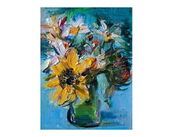 Bouquet with Sunflower, Original Floral Still Life Oil Painting on Canvas, Impressionist Art Small Impasto Thick Paint Texture Colorful Oils