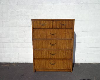 Campaign Chest of Drawers Dresser Tallboy Highboy Vintage Mid Century MCM Bureau Media Console Chinoiserie Asian Chinese CUSTOM PAINT Avail