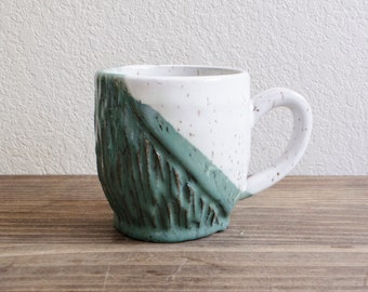 Carved Green and White Ceramic Mug
