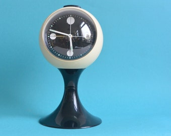 Blessing Clock Super Retro Ball Alarm West Germany Collectable Black White Space Age Era design