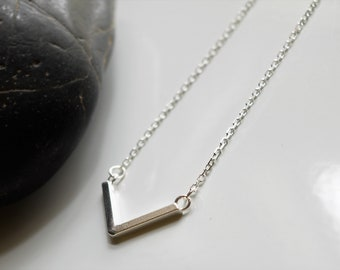 Sterling Silver Chevron Layering Festoon Necklace