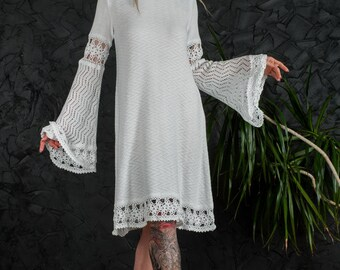 Wedding crochet Dress white party Dress Handmade mini Dress Crochet white Dress KNIT lacy Dress Crochet EVENING Dress Knit long sleeve Dress