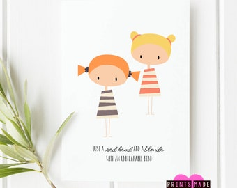 Friendship card | birthday card | thank you | thinking of you | red head and blonde | best friends