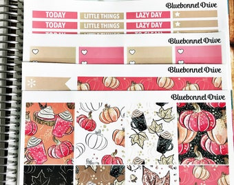 PRETTY PUMPKIN Sticker Kit for ECLP, Vertical Sticker Kit, Functional, Sized for Erin Condren Life Planner
