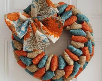 Fall wreath, year round wreath, orange and turquoise wreath, orange and blue wreath, burlap wreath, shabby chic wreath