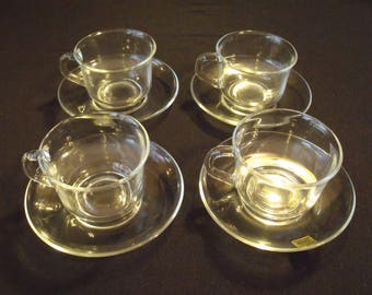 Arcoroc Classique Cup and Saucer set of 4 NEW Condition