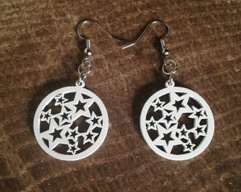 White Wood Star Earrings - Lightweight - Dangle - Makes a Great Gift!