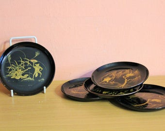 Vintage Japanese Black Lacquer & Gold Frogs Coasters Set, Lacquer ware Japan Oriental Asian