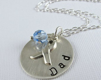 Dad Prostate Cancer Awareness Necklace - Sterling Silver Chain, Stamped Disc, Awareness Ribbon Charm, Light Sapphire Swarovski Crystal