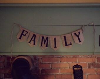 Family Bunting, Family Banner, Home Decor, Burlap Bunting, Burlap Banner, Burlap Garland