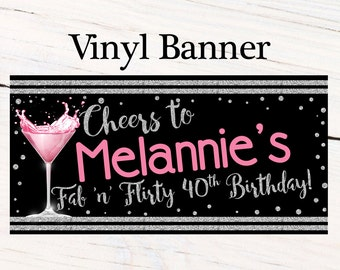 Cheers to 40th Photo Banner  ~ Personalized Banner Party Banners - 30th Birthday Banner, Cheers to Party Banner, Printed Banner