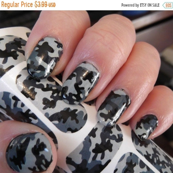 ON SALE 18 GREY Camo Nail Art Decals (Cm1) Camouflage Nails Transparent  Colors Waterslide Stickers from NorthofSalem on Etsy Studio - ON SALE 18 GREY Camo Nail Art Decals (Cm1) Camouflage Nails