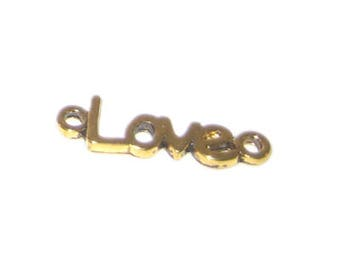 24 x 8mm Gold LOVE Pendant / Charm - 2 charms