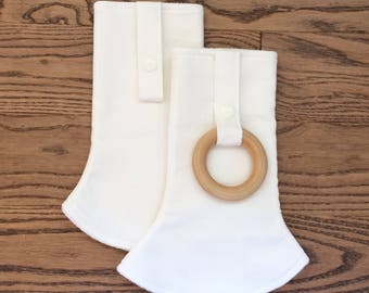 ORGANIC Natural Unbleached Cotton Curved Drool Pads with Wood Ring (for Ergo, Beco, Boba, Tula, Lillebaby, more...)