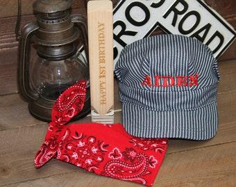 PERSONALIZED Train Hat, Bandana, Wood Train Whistle; Train Costume, Train Birthday, Train Birthday, Train Engineer, Train Conductor