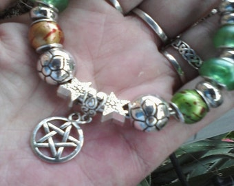 Pagan Wiccan shades of Earth, Euro style bracelet