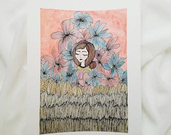 Tropical Floral Girl Watercolor Illustration Original Artwork
