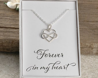 Forever in my heart, infinity heart, memorial for dad, mom, sister, brother, miscarriage, baby infant loss, sterling silver necklace