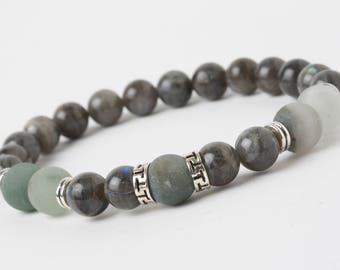 Labradorite bracelet, Africa Iron Blood Stone, Yoga meditation bracelet, Healing bracelet, blue black stone bracelet, Wrist Mala Beads