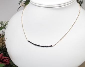 Black Diamond Necklace, Delicate Genuine Diamond Necklace In14K Yellow Gold, April Birthstone, 15-20 Inches Length, Diamond Bar Necklace