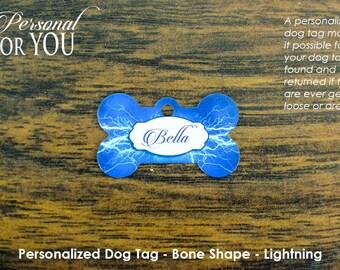 Personalized Dog Tag**Bone Shape*Lightning