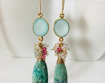 Ruby zoisite earrings, sterling silver aquamarine chalcedony bezel, aquamarine clusters. Pastel color earring