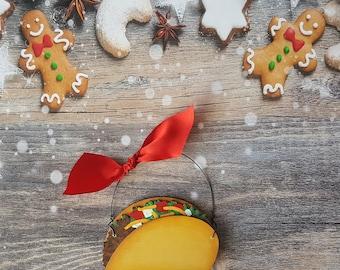 Taco Christmas Ornament, Personalized Christmas Ornament