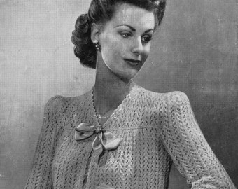 Vintage Ladies Lacy Bed-Jacket, Prettily Youked, Knitting Pattern, 1940 (PDF) Pattern, Weldons 429