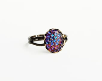 Iridescent Purple Glass Ring Small Vintage Glass Fish Scale Jewelry Dragon Scale Ring