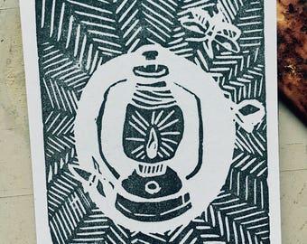 Lantern Linocut Hand-printed on Label Sticker
