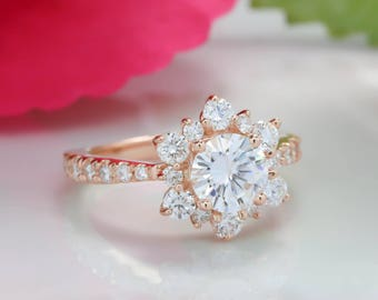 Rose Gold Moissanite Engagement Ring Snowflake Diamond Halo Forever One - Snowflake