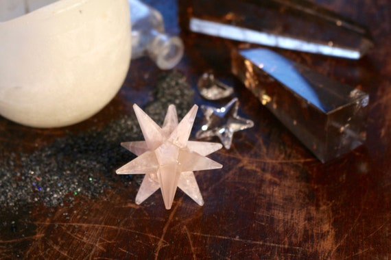 Rose Quartz 12 Point Star, Rose Quartz Merkabah, Rose Quartz Star, Polished Rose Quartz Star, Sacred Geometry, Pink Crystal Star