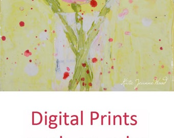 Pink Roses Flower Painting Print. Yellow Floral Digital Print. Dining Room Wall Decor. Romantic Gift for Her. 237