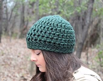 Crochet Hat, Crochet Beanie, Dark Green Beanie, Green Hat, Green Crochet Beanie, Green Winter Hat, Chunky Beanie, Women's Hat, THE SENECA