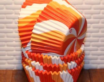 Orange Swirl Heavy Duty Cupcake Liners (Qty 32) Orange Cupcake Liners, Orange Baking Cups, Orange Muffin Cups, Cupcake Liners, Baking Cups