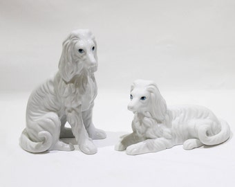 Vintage Pair of Afghan Hound Dog Figurines by NORLEANS, White Afghan Dogs
