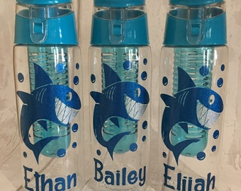 Personalised - Any Name - Sparkly Shark Fruit Infuser Water / Drinks Bottle