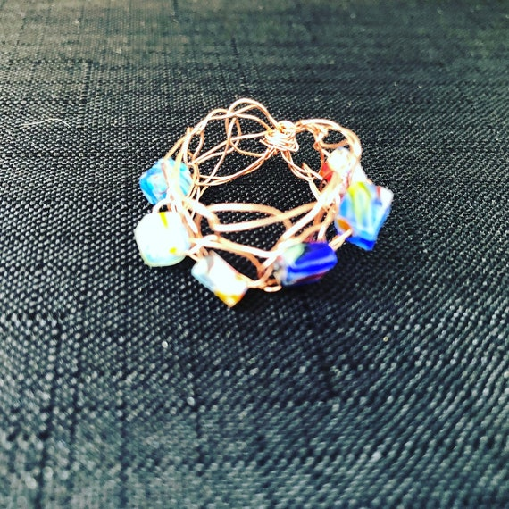 SJC10316 - Handmade copper wire crochet ring with multicolor glass beads