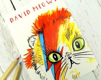 David Bowie Cat Postcard, Cute Funny Cat Pun Stationary