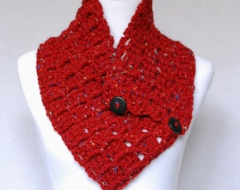 Red Tweed Crochet Scarf, Red Crochet Button Cowl, Crochet Neck Warmer , Scarlet Wrap Scarf - Block Stitch