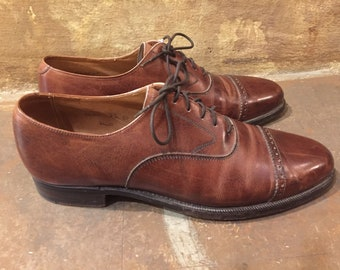 Peal & Co made in England for Brooks Brothers brown leather cap toe oxford dress shoes