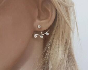 Dots ear jacket sterling silver double earrings, Minimalist earrings silver, Trendy earrings