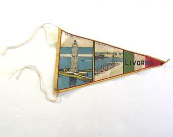 Livorno, Italy Souvenir Pennant, Small Vintage Printed Flag