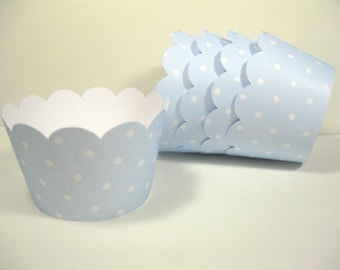 12 scalloped standard size cupcake wrappers - cupcake holder - boy baby shower - pastel blue cupcake wrappers - girl birthday - it's a boy