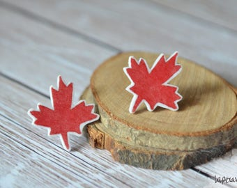 FALL EARRINGS, maple leaf earrings, autumn earrings, leaf earrings, botanic earrings, autumn jewelry, shrink plastic earrings, red earring