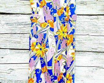 TROPICAL PRINT DRESS everyday dress  casual vintage  cute sundress aloha  blue  summer dresses for women multi coloured housewife flowered L