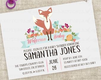 Fox-Baby-Duscheeinladung mit rosa Blumen Banner Aquarell Schriftzug benutzerdefinierte professioneller Digitaldruck-Option - Cardtopia