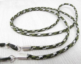 Mens Eyeglass Cord, Glasses Cord in Camouflage colors, Mens Glasses Chain, Green Eyeglass Chain, Sunglasses Holder, Cord for Glasses