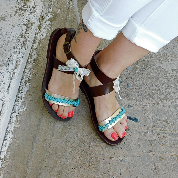 sandals Comfortable leather sandals Sandals Wedding Ladies sandals Decorated Greek flat Sandals sandals BOHO Beaded sandal sandals wXB6nq7